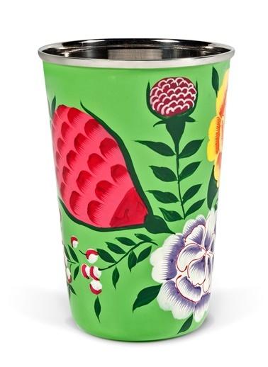 Turuncu Çiçekli Yeşil Bardak-3rd Culture